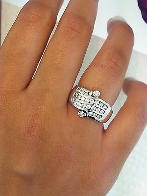 1 Ct Diamond .925 Sterling Silver Round Cut Channel Set Fancy Engagment Ring  ()