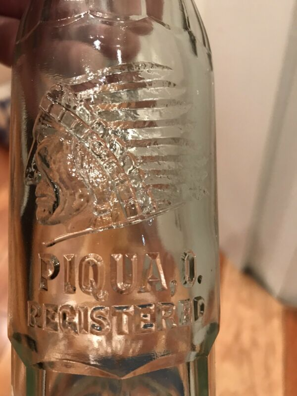 Antique Soda Bottle Pi=Qua=lity  Coca Cola Bottling Works Piqua Ohio Indian Logo