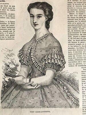 Year 1863 - MODE ILLUSTREE SEWING PATTERN June 29,1863 - Fichu MARIE ANTOINETTE