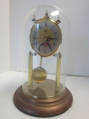 Elgin American Quartz Anniversary Clock with Glass Dome Metal Base Works Great!