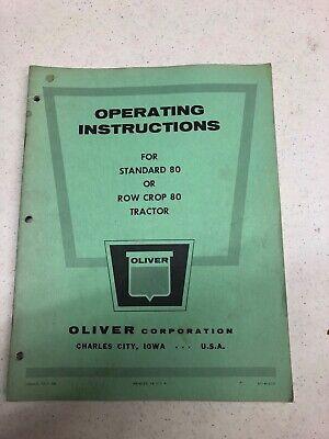 Oliver Model 80 Standard Row Crop Tractor Operators Manual