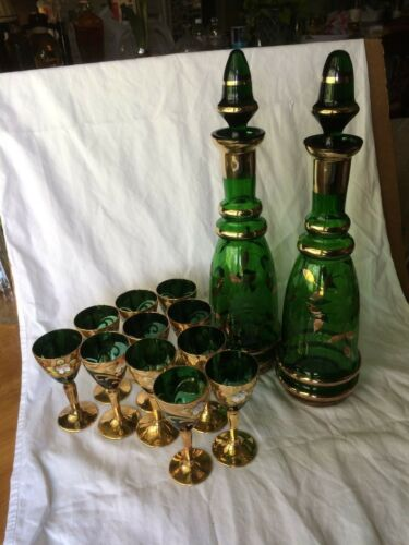 VICTORIAN BOHEMIAN MOSER GREEN GLASS GOLD&ENAMEL 2 LIQUOR DECANTERS-11 GLASS SET