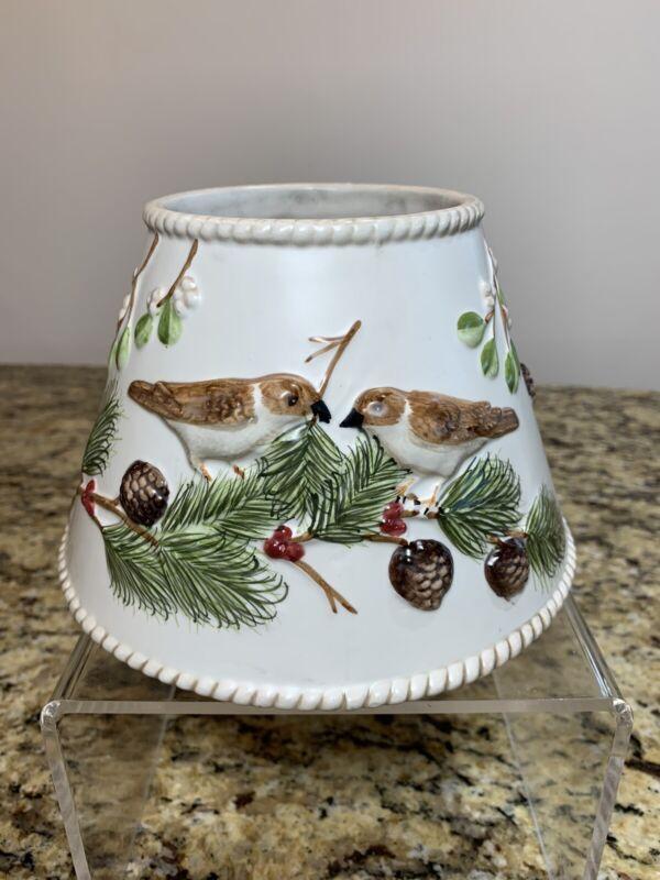 Yankee Candle Lampshade Jar Topper Ceramic Birds Acorns HTF