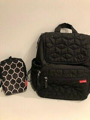 SkipHop Black Diaper Bag and Wipes Holder