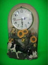 MOMMY & BABY COW & DAISY COUNTRY PENDULUM TABLE DESK MANTEL SHELF QUARTZ CLOCK