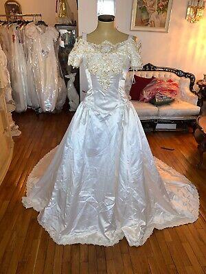 Ivory Beaded Vintage Wedding Gown Sz 10
