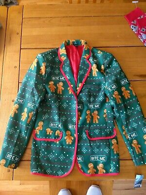 Ugly Christmas Suit Jacket Blazer Mens Size Small Green Bite Me Gingerbread Man