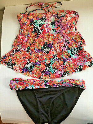 Kenneth Cole Reaction Tankini ( Kenneth Cole Reaction Tankini Swimsuit 2pc Set Floral Size L Bandeau Front )