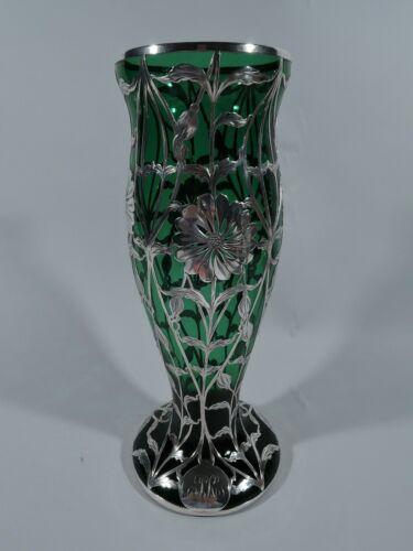 Matthews Vase - 519 - Antique Art Nouveau - American Green Glass Silver Overlay
