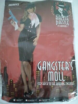 Halloween Adult Gangster's Moll Costume Size L (US 14-16) New Open Bag. No Scarf