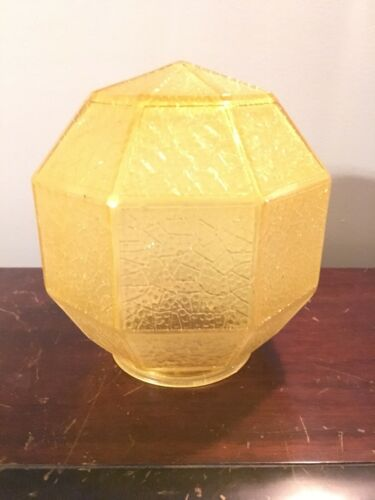 Vtg Art Deco 5 3/4 Geometric Globe Lamp Light Shade Amber Crackle 3 1/4 Fitter - $25.00