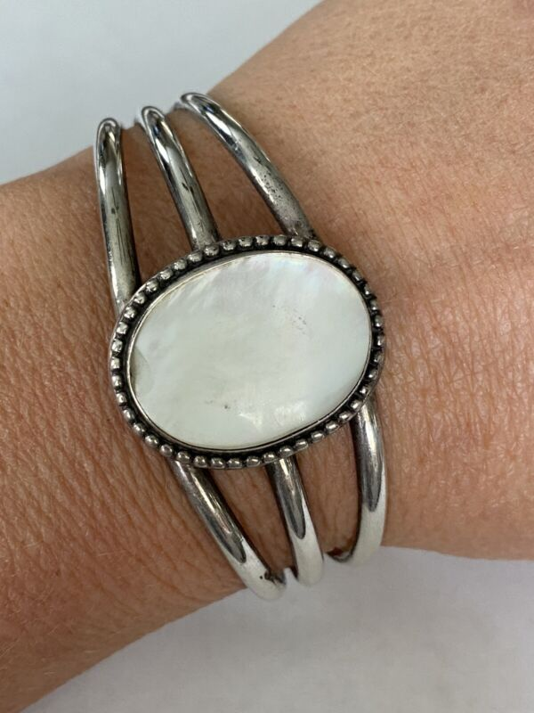 Sterling Silver Oval Mother of Pearl Cuff Bracelet * Price Reduced, Special *