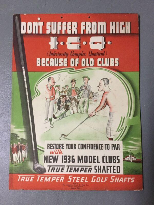 Vintage 1936 True Temper Golf Club Shafts Store Sign