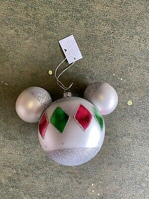 Disney Parks Mickey Mouse Head Plastic Christmas Holiday Ornament Silver Glitter