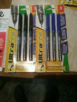 2 Packs 6 Pens Promarx Ultra Fine Pens Precise Vivid Lines Black Blue Ink 0.5mm