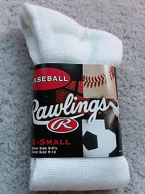 Boys Girls Rawlings Arch Support Baseball Athletic Crew Socks Youth White Rawlings Arch Support