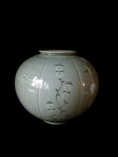 Vintage Korean Celadon Pot - Vase with Flower / Crane motif