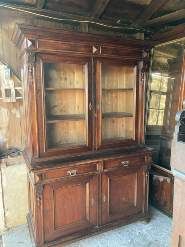 Fine 1865 Rosewood Vuctorian 2 Part Step Back Cupboard 7ft Outstanding