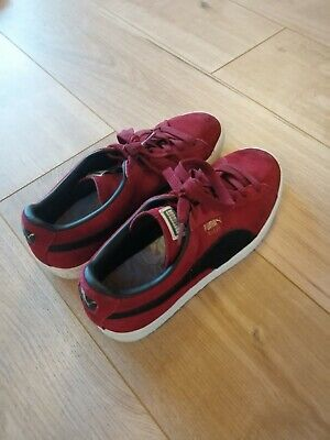 Puma Suede Trainers Burgundy & Black Size UK 8 EU 42