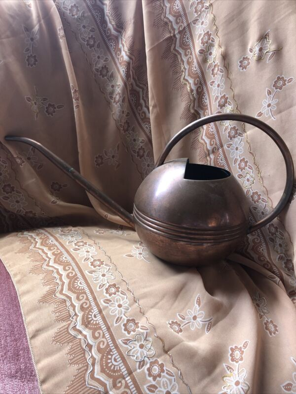 Antique Solid Copper Watering Can Vtg Art Deco Made in Turkey Indoor