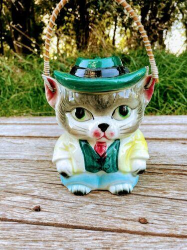 Vintage 1950s Royal Sealy Mr Kitty Cat Cowboy Biscuit Jar