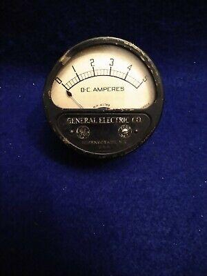 Vintage Ge Dc Amperes Meter Measures 0 To 5 Amps General Electric Gauge