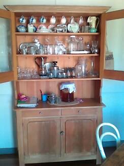 Vintage Scrubbed Pine Kitchen Hutch