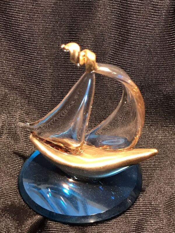Glass Baron Sailboat With Gold Trim Figurine