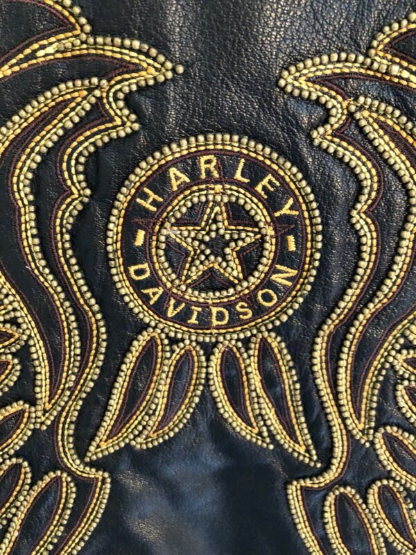 Harley Davidson Ladies Leather Jacket Size L Black With Gold! Perfect Condition!