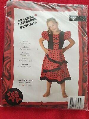 Senorita Spanisch Kleid Kostüm Karneval Mädchen  Gr.104 NEU OVP - Spanische Mädchen Kostüm