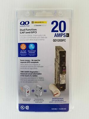 New Square D Qo120dfc 20a Single-pole Dual Function Cafci Gfci Circuit Breaker