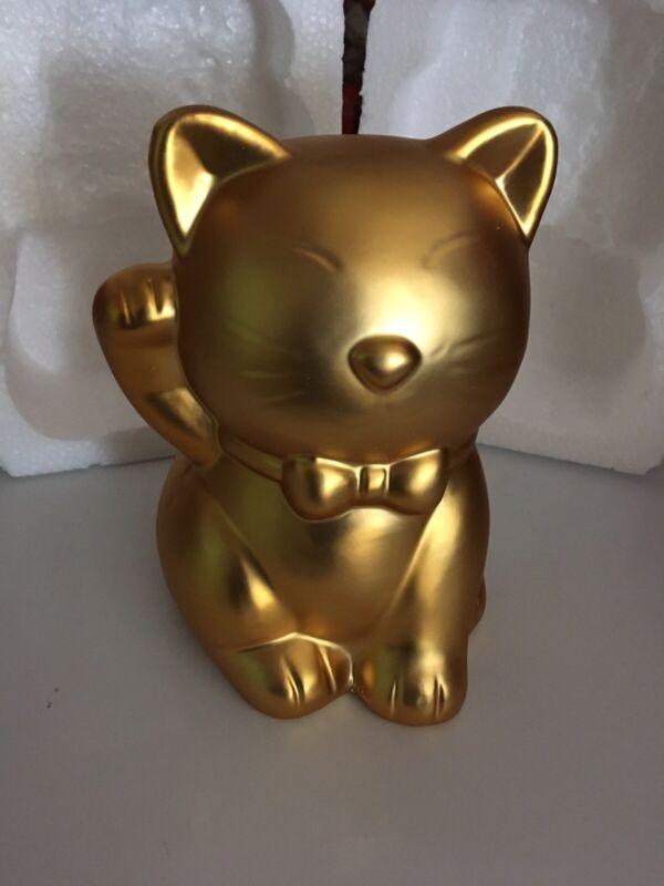 Gold Ceramic Lucky Money Cat Bank