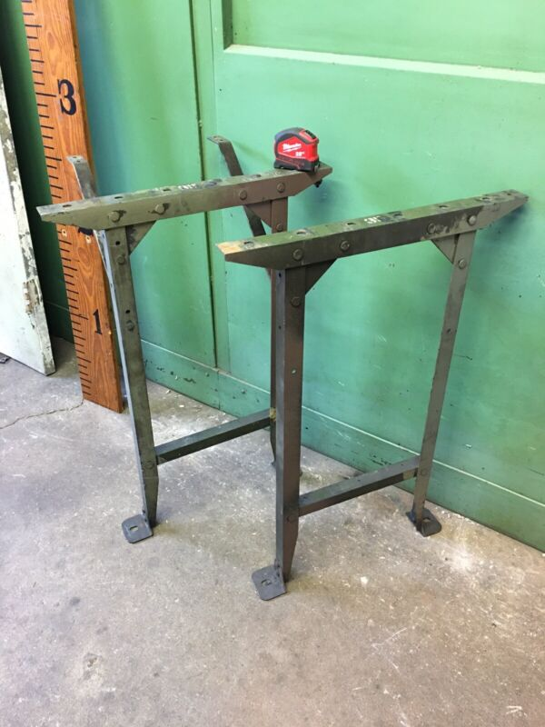 1930 Vintage Riveted Steel Workbench Ends Table Base Legs Industrial Rivets 33""