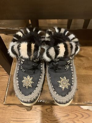 Mou Boots With Mink Fur Trim Size 40