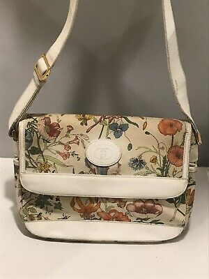 Vintage GUCCI Ivory Canvas Flora Floral Flowers Crossbody White Leather (Gucci Flora Floral)