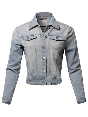 - FashionOutfit Women's Classic Rose Gold Button Chest Two Pockets Denim Jacket