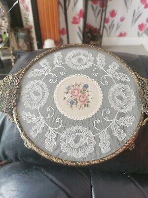 Vintage Round Petit Point Filigree Ormolu Vanity Dressing Table Tray