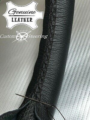 FOR PEUGEOT 308 07-13 GENUINE LEATHER STEERING WHEEL COVER BLACK DOUBLE STITCH