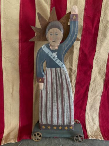 "Country Primitive Style Wooden Handcrafted 19"" Tall LADY LIBERTY on Wheels"