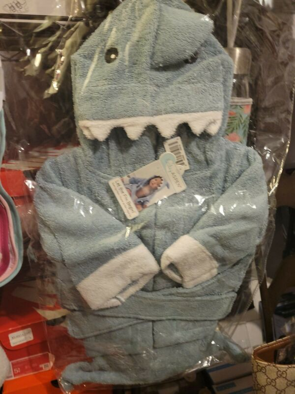 Baby Aspen Blue Shark Bath Set, Hooded Towel, bath mitt & spa slippers