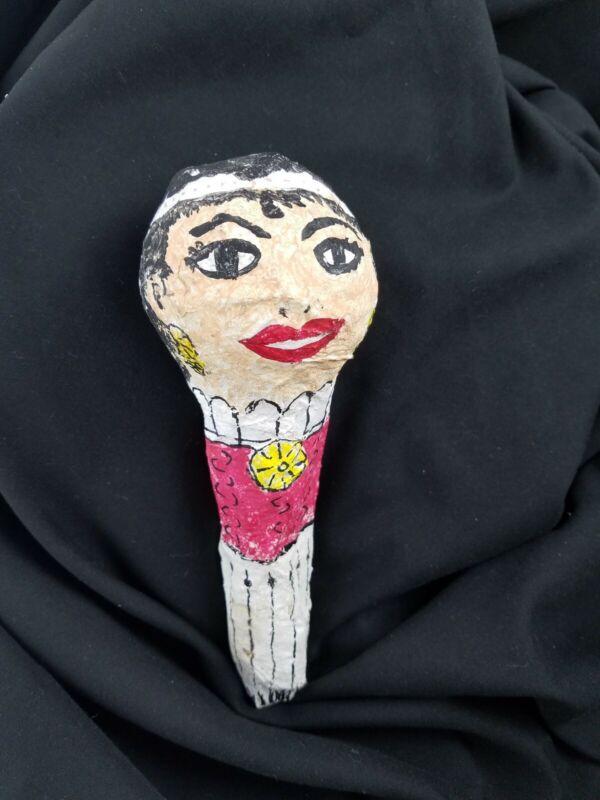 Folk Instrument Paper Mache Maraca Rattle Shaker Betty Boop Flapper Girl