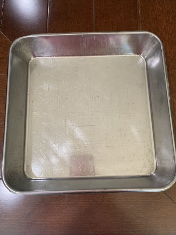 """Vintage  Stainless Steel Bakeware Square Pan 9""""x 9""""x2"""" USA"""