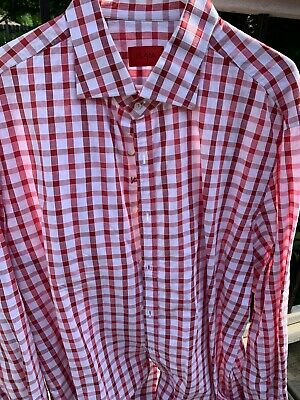 Isaia Dress Shirt Red Gingham 18.5 x 38 Spread Collar Button Cuff