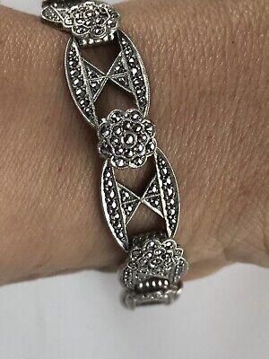 Vintage silver ANTIQUE ART DECO C. 1920's MARCASITE FILIGREE bracelet ()