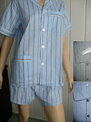 Herren Schlafanzug kurz zum knöpfen 100 % Baumwolle gewebt Gr.58-64 große Größen - Baumwolle Gewebte Pyjama-set