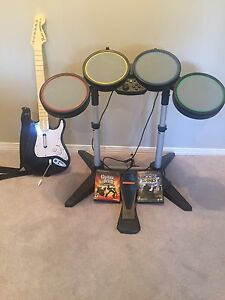 Rock band drum and guitar