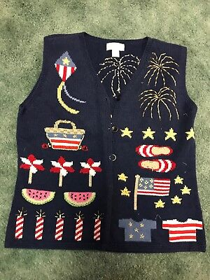 Holiday/Theme/Ugly Sweater Womens Size Small Navy, Beaded](Ugly Sweater Theme)