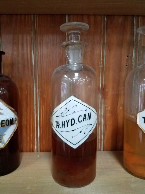 Rare Label.  Glass Apothecary Bottle