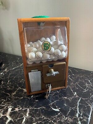 Victor Vending Gumball Vendor Vintage 1950s Bubble Gum Machine Oak Cabinet Wood
