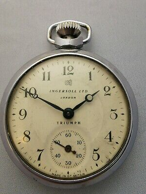 Vintage Chrome Ingersoll Ltd London Triumph Pocket Watch